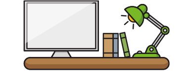 desk and lamp icon